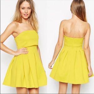 ASOS Yellow Crop Top Mini Debutante Dress